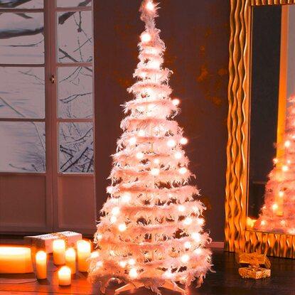 k nstlicher weihnachtsbaum und federn wei 160 cm mit led. Black Bedroom Furniture Sets. Home Design Ideas