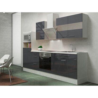 Respekta premium küchenzeile rp270wgcmis 270 cm grau weiß