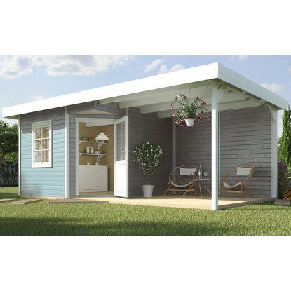 weka holz gartenhaus san remo a grau wei bxt 541 x 238 cm davon 303 cm terr kaufen bei obi. Black Bedroom Furniture Sets. Home Design Ideas