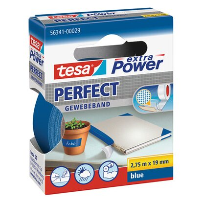 Tesa Extra Power Perfect Gewebeband Blau 2,75 m x 19 mm
