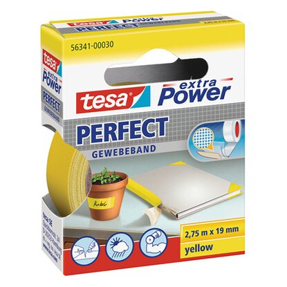 Tesa Extra Power Perfect Gewebeband Gelb 2,75 m x 19 mm