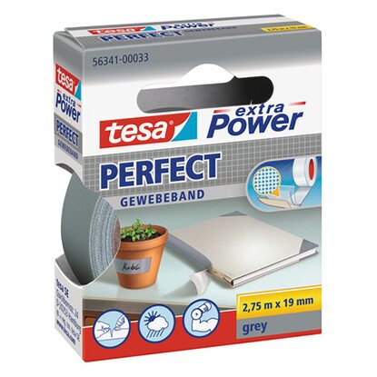 Tesa Extra Power Perfect Gewebeband Grau 2,75 m x 19 mm