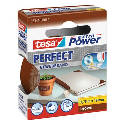 Tesa Extra Power Perfect Gewebeband Braun 2,75 m x 19 mm