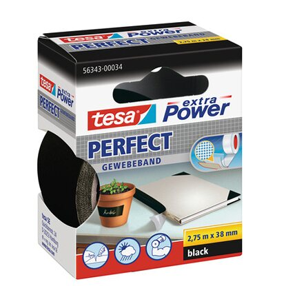 Tesa Extra Power Perfect Gewebeband Schwarz 2,75 m x 38 mm