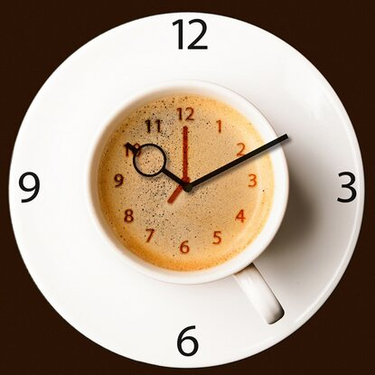 Eurographics Wanduhr Time Art Ist Coffee Time 30 cm x 30 cm