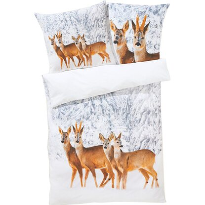 Best of home Bettwäsche Winterrehe 155 cm x 220 cm Weiß-Braun