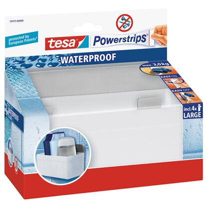 Tesa Waterproof Regal Weiß mit 4 x Powerstrips Large