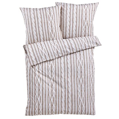 Best of home Bettwäsche Strick 155 cm x 220 cm Beige