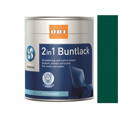 OBI 2in1 Buntlack Moosgrün seidenmatt 125 ml