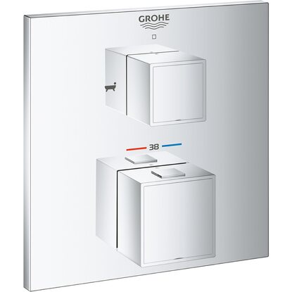Grohe Thermostat-Wannenbatterie mit 2-Wege-Umstellung Grohtherm Cube Chrom