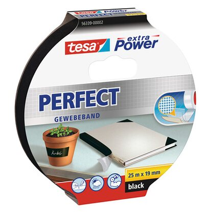 Tesa Extra Power Perfect Gewebeband Schwarz 2,75 m x 19 mm