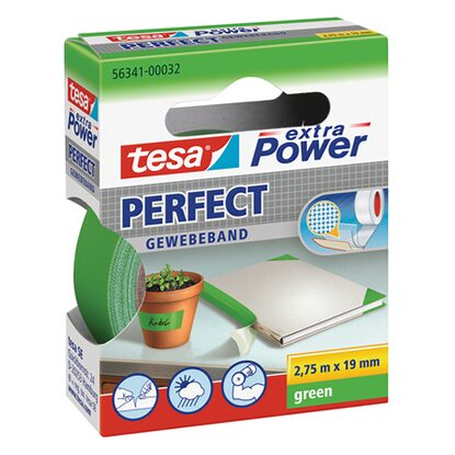 Tesa Extra Power Perfect Gewebeband Grün 2,75 m x 19 mm