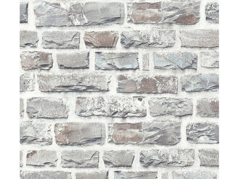A s creation neue bude 2 0 vliestapete stein grau kaufen - Bauhaus steinwand ...