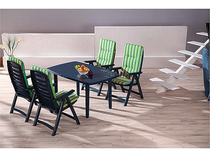 gartenm bel gruppe santiago 9 teilig blau mit auflagen dessin 0664 kaufen bei obi. Black Bedroom Furniture Sets. Home Design Ideas