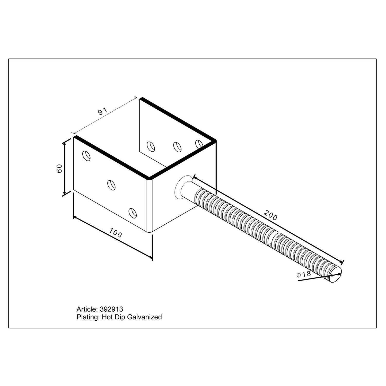 pfostentr ger u form mit steindolle 200 mm x 91 mm x 60 mm kaufen bei obi. Black Bedroom Furniture Sets. Home Design Ideas
