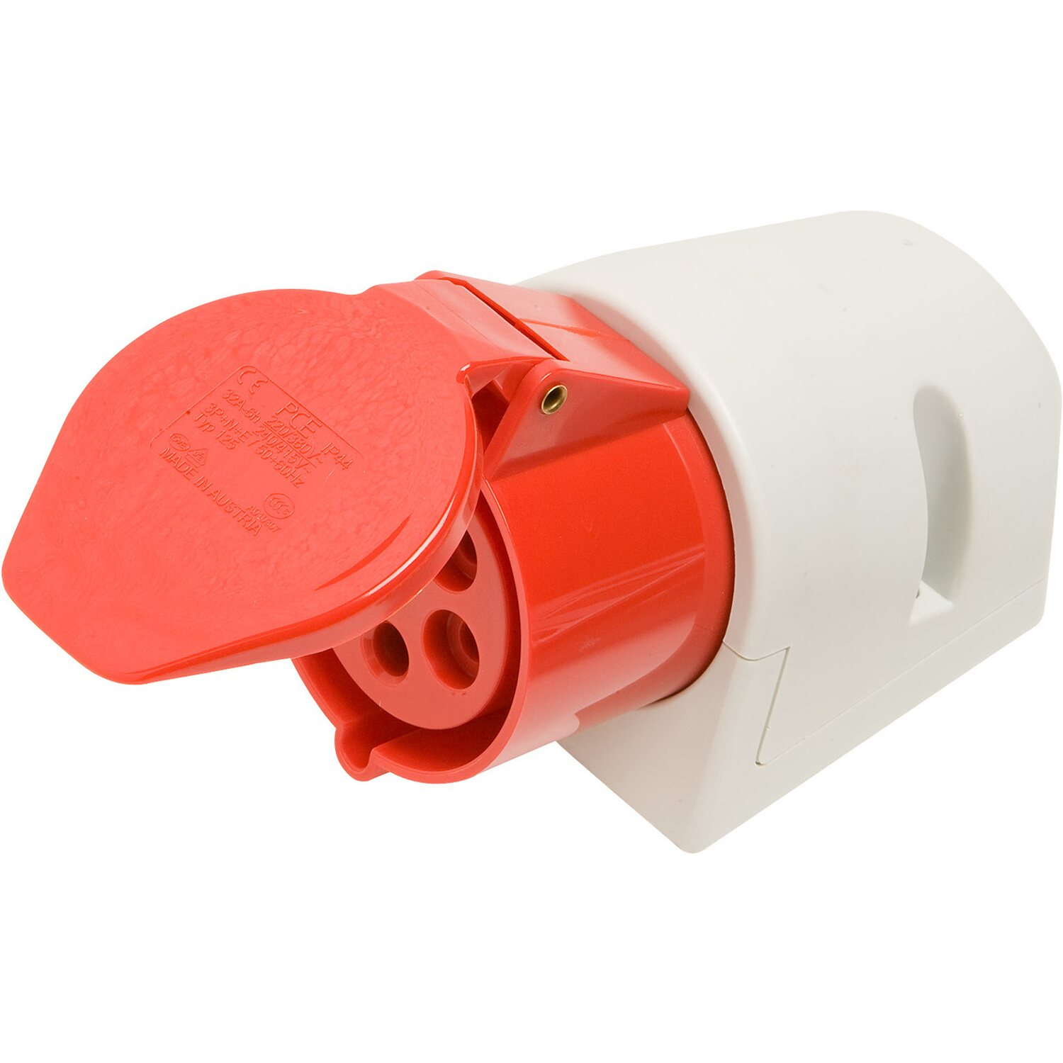 CEE Wandsteckdose 5-polig IP44 32 A Rot
