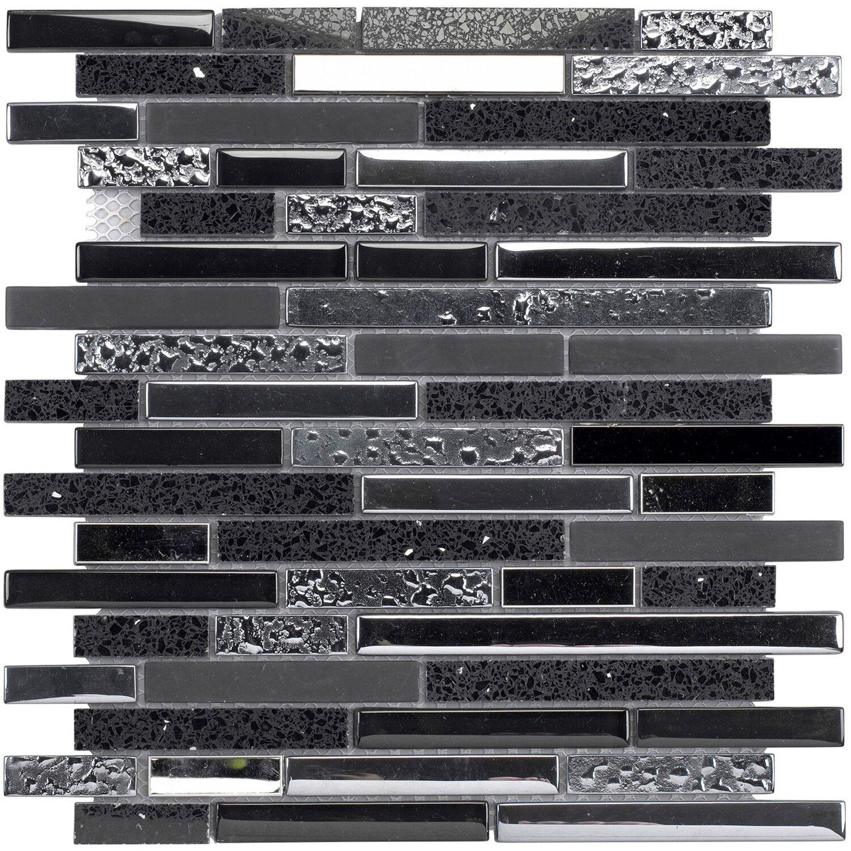 Quarzmosaikmatte Schwarz 30 cm x 30 cm