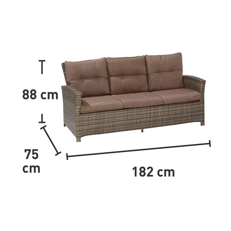 obi lounge gartensofa vermont shadow earth polyrattan 3 sitzer kaufen bei obi. Black Bedroom Furniture Sets. Home Design Ideas