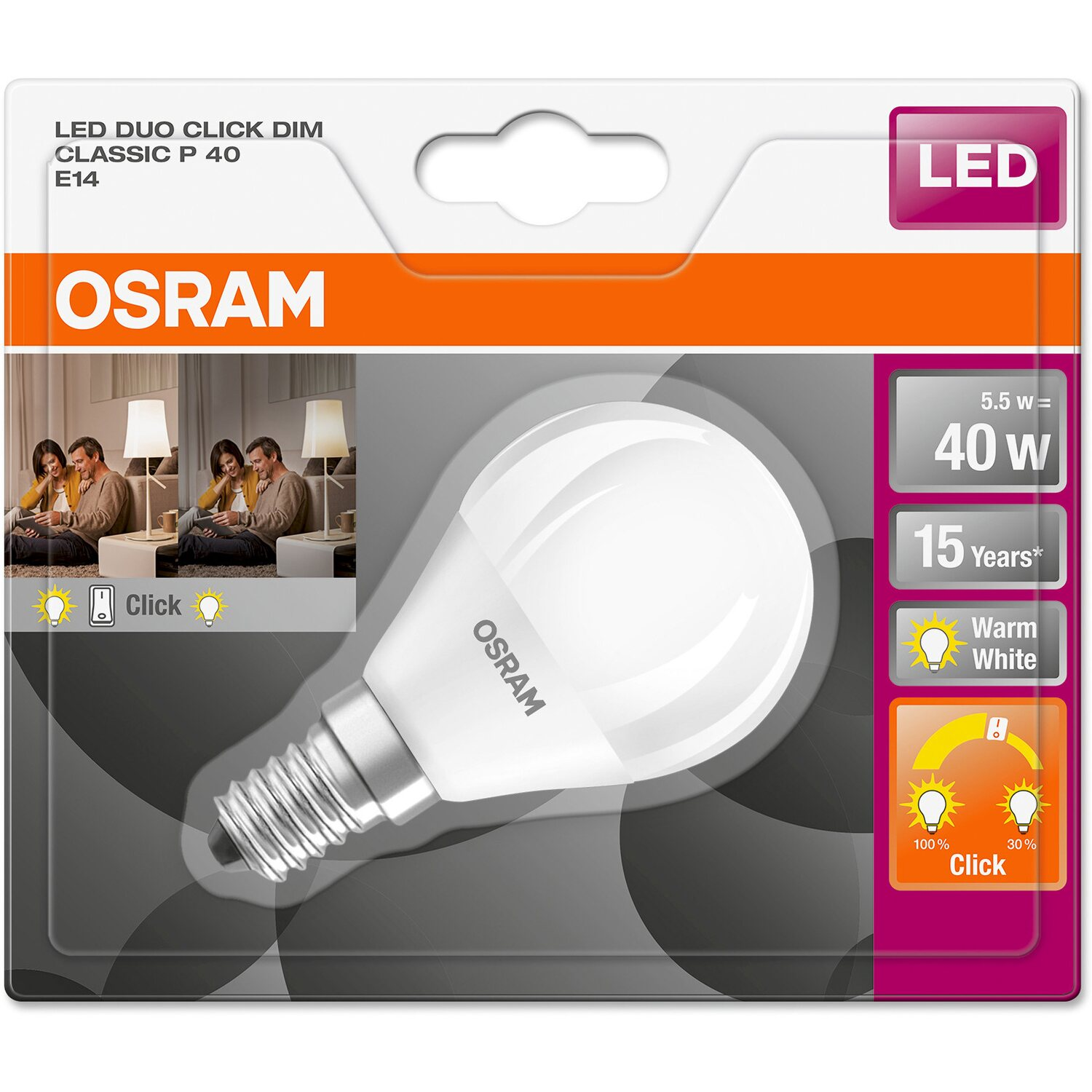 Osram Led Lampe Duo Click Tropfenform E14 5 5 W Warmweiss 470 Lm