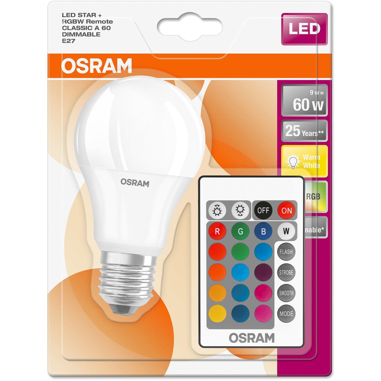 Osram LED Lampe Remote Glühlampenform E27 9 W Warmweiß (806 lm) EEK: A+