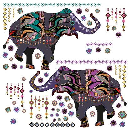 Eurographics Wandtattoo 3-teilig Dancing Elephants