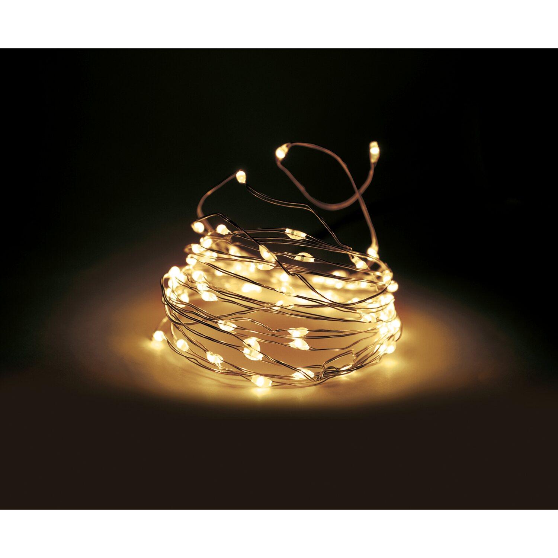 Bauhaus Baumarkt Weihnachtsbeleuchtung.Led Lichterkette Tropfen 40 Warmweiße Leds Silberdraht Mit Funkt Innen