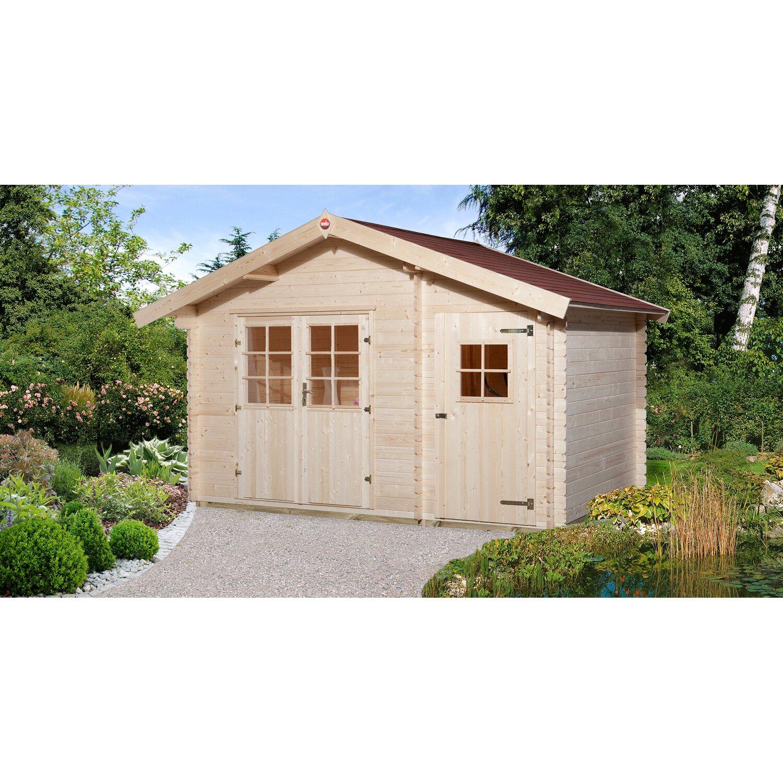 Weka Holz-Gartenhaus Brixen mit Satteldach Natur B x T: 370 cm x 200 ...