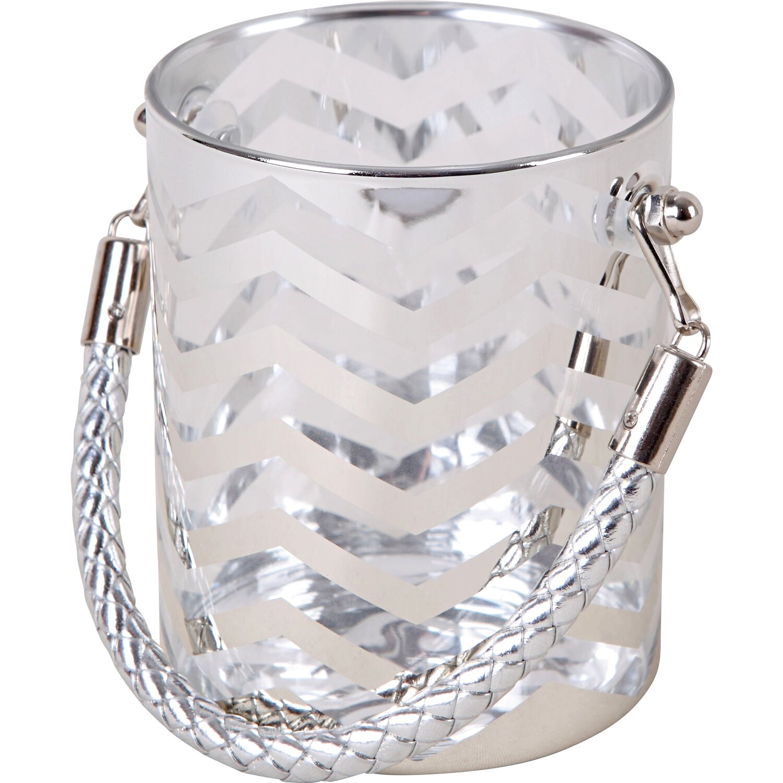 Windlicht Glas Teelichthalter 10 X 9 Cm Silber Grau