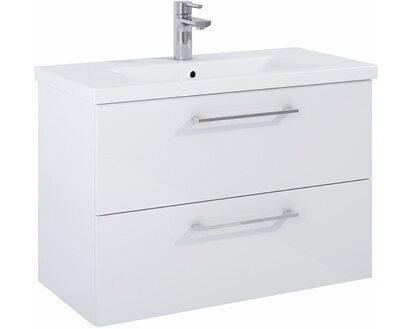 Waschbeckenunterschrank 80 cm Cheese Weiß 2 Schubladen